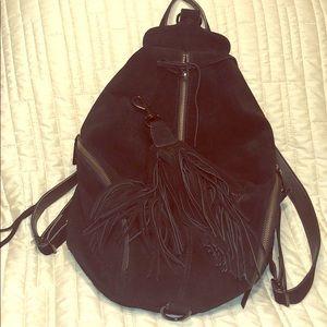 Rebecca Minkoff black fringe suede backpack